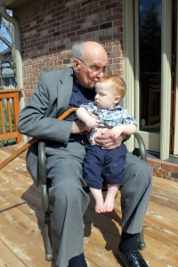 my favorite veteran - my 97 year old grandpa loving on Wade this past easter - a treasured photo