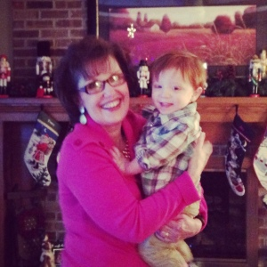 the biggest Christmas fan I know (mom) with Wade, dancing to carols