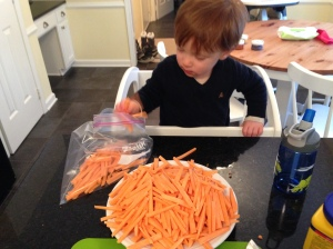 look at all those fries - mommy had to do the cutting